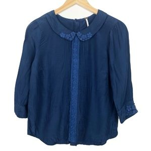 Free People Navy Button-Back Collared Blouse